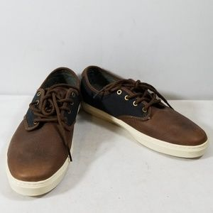 Vans Brown/Black Leather Lace Up Sneakers Size 8.5
